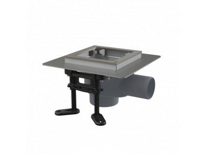 ALCA PLAST Podlahová vpust nerezová 130×130 mm boční, bez mřížky, vodní zápachová uzávěra APV130