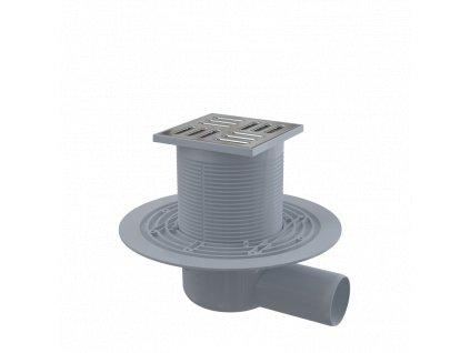 ALCA PLAST Podlahová vpust 105×105/50 mm boční, mřížka nerez, vodní zápachová uzávěra APV1311
