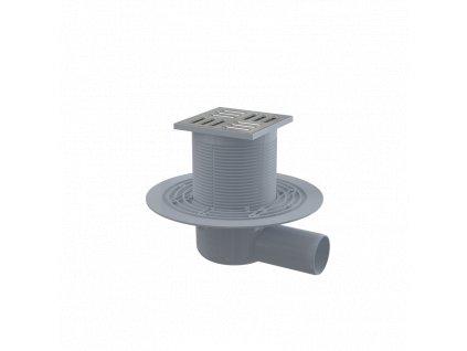 ALCA PLAST Podlahová vpust 105×105/50 mm boční, mřížka nerez, kombinovaná zápachová uzávěra SMART APV1321