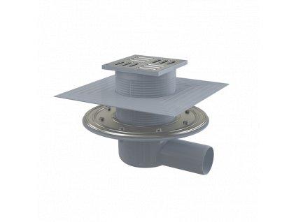 ALCA PLAST Podlahová vpust 105×105/50 mm boční, mřížka nerez, nerezová příruba a límec 2. úrovně izolace, kombinovaná zápachová uzávěra SMART APV1324