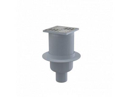 ALCA PLAST Podlahová vpust 105×105/50 mm přímá, mřížka nerez, vodní zápachová uzávěra APV2