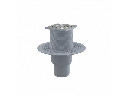 ALCA PLAST Podlahová vpust 105×105/50/75 mm přímá, mřížka nerez, kombinovaná zápachová uzávěra SMART APV2321