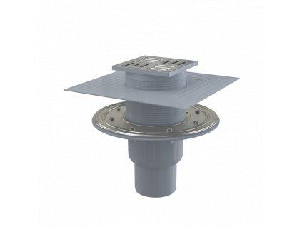 ALCA PLAST Podlahová vpust 105×105/50/75 mm přímá, mřížka nerez, nerezová příruba a límec 2. úrovně izolace, kombinovaná zápachová uzávěra SMART APV2324
