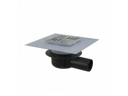 ALCA PLAST Podlahová vpust 105×105/50 mm boční, mřížka nerez, límec 2. úrovně izolace, suchá zápachová uzávěra APV26C