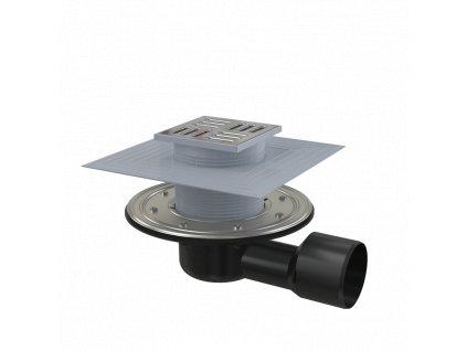 ALCA PLAST Podlahová vpust 105×105/50/75 mm boční, mřížka nerez, nerezová příruba a límec 2. úrovně izolace, vodní a suchá zápachová uzávěra APV3344