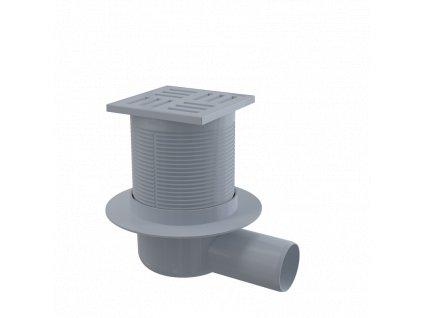 ALCA PLAST Podlahová vpust 105×105/50 mm boční, mřížka šedá, vodní zápachová uzávěra APV5111
