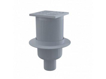 ALCA PLAST Podlahová vpust 105×105/50 mm přímá, mřížka šedá, vodní zápachová uzávěra APV6111