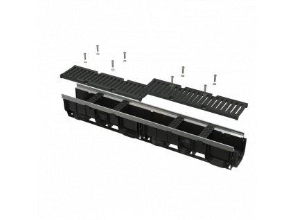ALCA PLAST Venkovní žlab 100 mm s kovovým rámem a litinovým roštem D400 AVZ103-R201