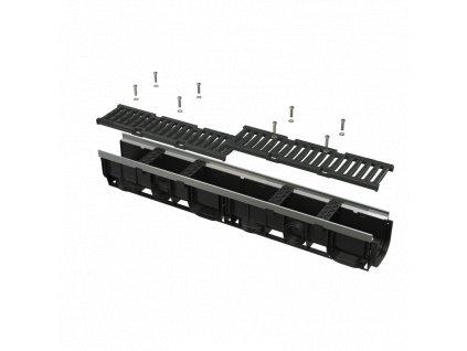 ALCA PLAST Venkovní žlab 100 mm s kovovým rámem a litinovým roštem C250 AVZ103-R202