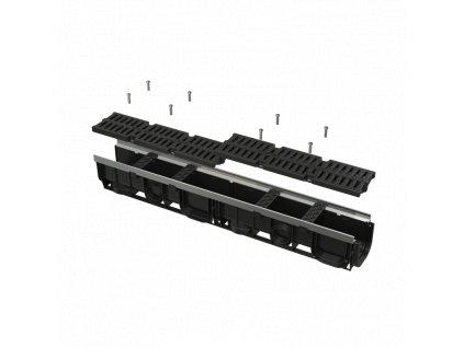 ALCA PLAST Venkovní žlab 100 mm s kovovým rámem a kompozitním roštem C250 AVZ103-R403