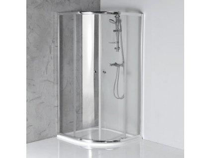 ARLETA čtvrtkruhová sprchová zástěna 900x900mm, čiré sklo - OUTLET