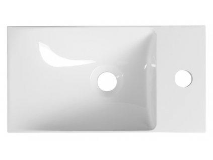 AGOS umyvadlo bez přepadu, 40x22cm, litý mramor, bílá, levé/pravé