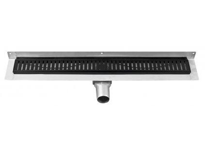 GELCO MANUS BLACK nerezový sprchový kanálek ke stěně s roštem ONDA, 650x112x55mm