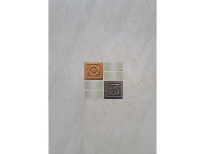 Dekor béžový mramorovaný se zlatým a stříbrným vzorem