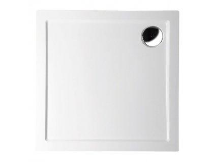 AURA sprchová vanička z litého mramoru, čtverec 90x90x4cm, bílá