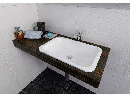 JAPURA umyvadlo 550x360mm, litý mramor, bílá, zápustné
