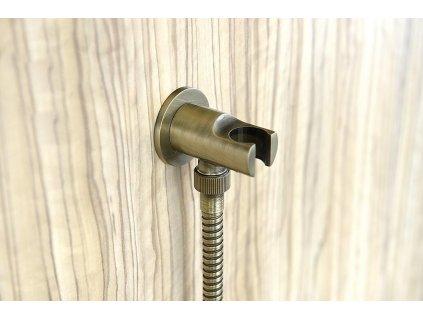 Držák sprchy kulatý, pevný, s vyústěním, bronz