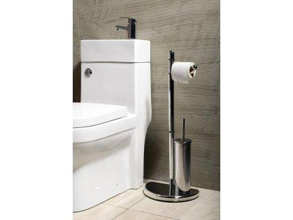 HIBISCUS stojan s držákem na toaletní papír a WC štětkou, chrom