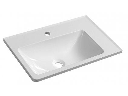 ARANA umyvadlo 56x11x35cm, litý mramor, bílá, pravé