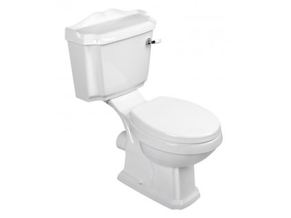 ANTIK WC kombi, mísa+nádržka+splachovací mech. s páčkou+PP sedátko, bílá/chrom