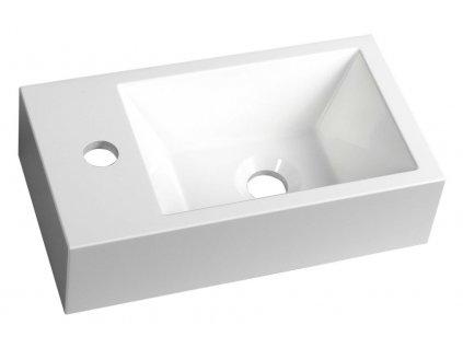 AMAROK umyvadlo 40x11x22cm, litý mramor, bílá, baterie vlevo