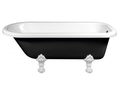 FOXTROT volně stojící vana 170x75x64cm, nohy bílé, černá/bílá
