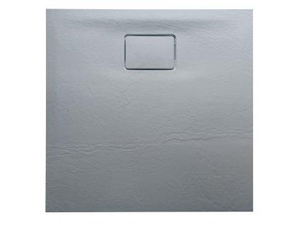 ACORA vanička z litého mramoru, čtverec 80x80x3,5cm, šedá, dekor kámen