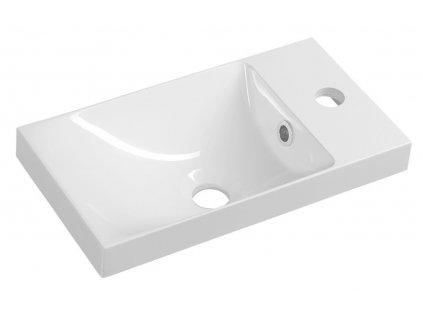 AGOS umyvadlo 40x22cm, litý mramor, bílá, levé/pravé