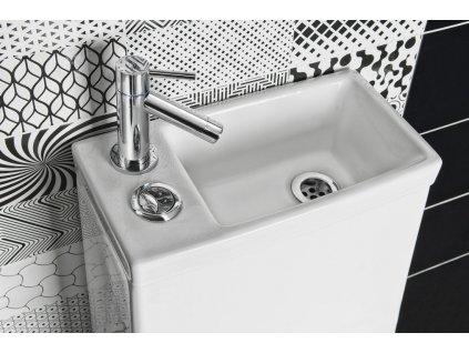 HYGIE WC kombi s umývátkem + sedátko, zadní/spodní odpad, bílá