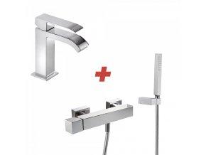 CUADRO-TRES Jednopáková umyvadlová baterie + Jednopáková sprchová baterie