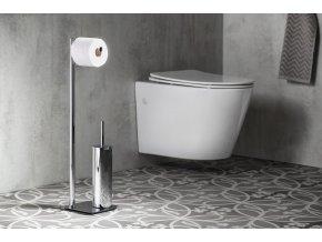 ARTU stojan s držákem na toaletní papír a WC štětkou, hranatý, chrom