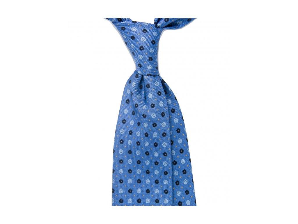 Modrá kravata s kytičkami