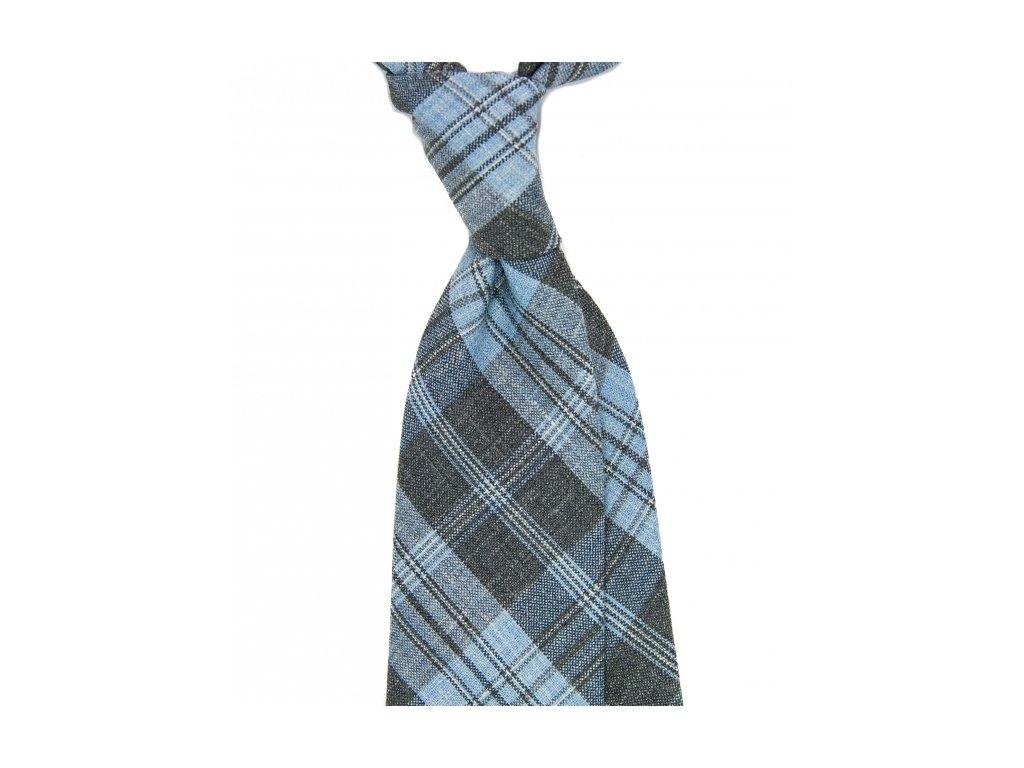 Modro-šedá kravata s károvaným vzorem