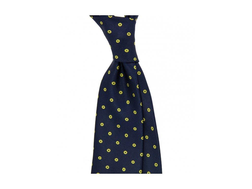 Tmavě modrá kravata s puntíky