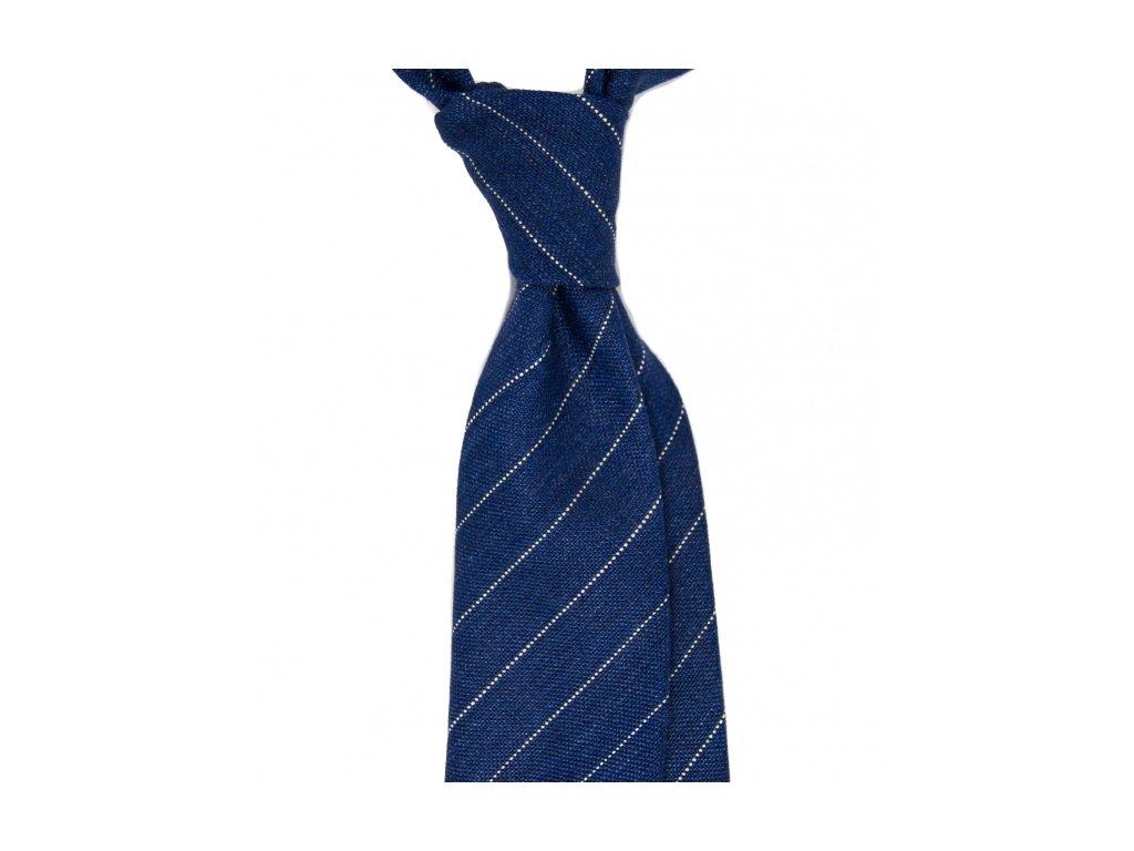 Tmavě modrá kravata s proužky