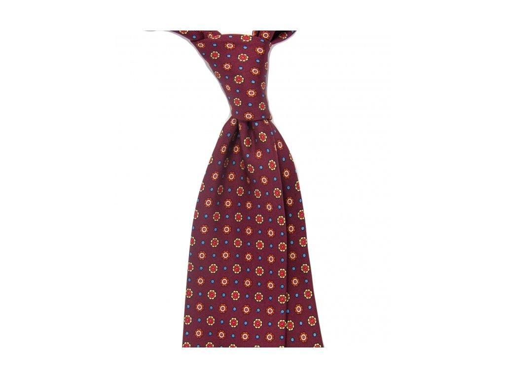 Vínová kravata s kytičkami