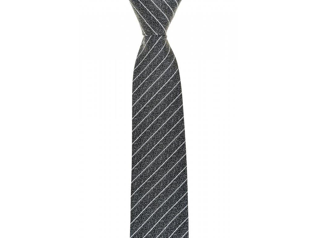 Šedá kravata s pruhy