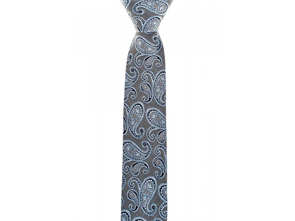 Šedá kravata s paisley vzorem