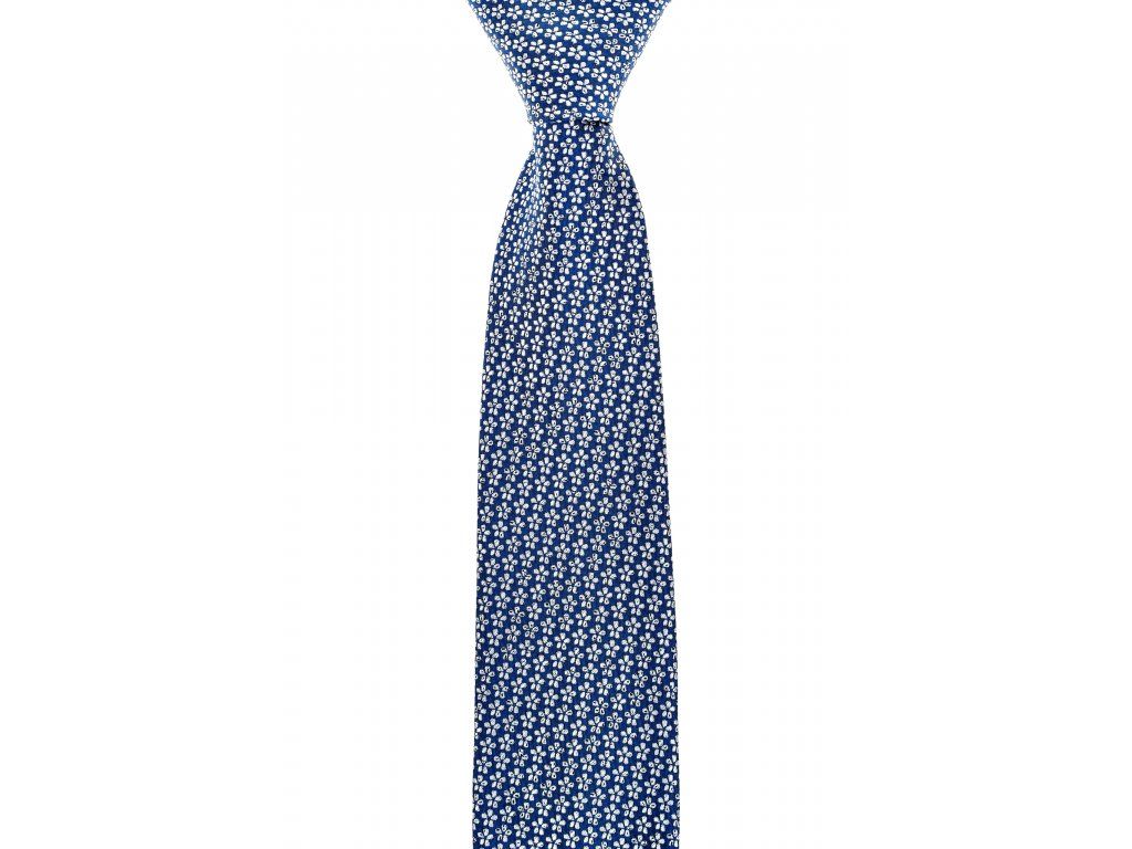 Modrá kravata s bílými květy