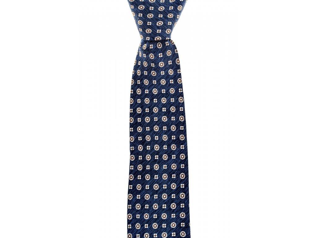 Modrá kravata s béžovým vzorem