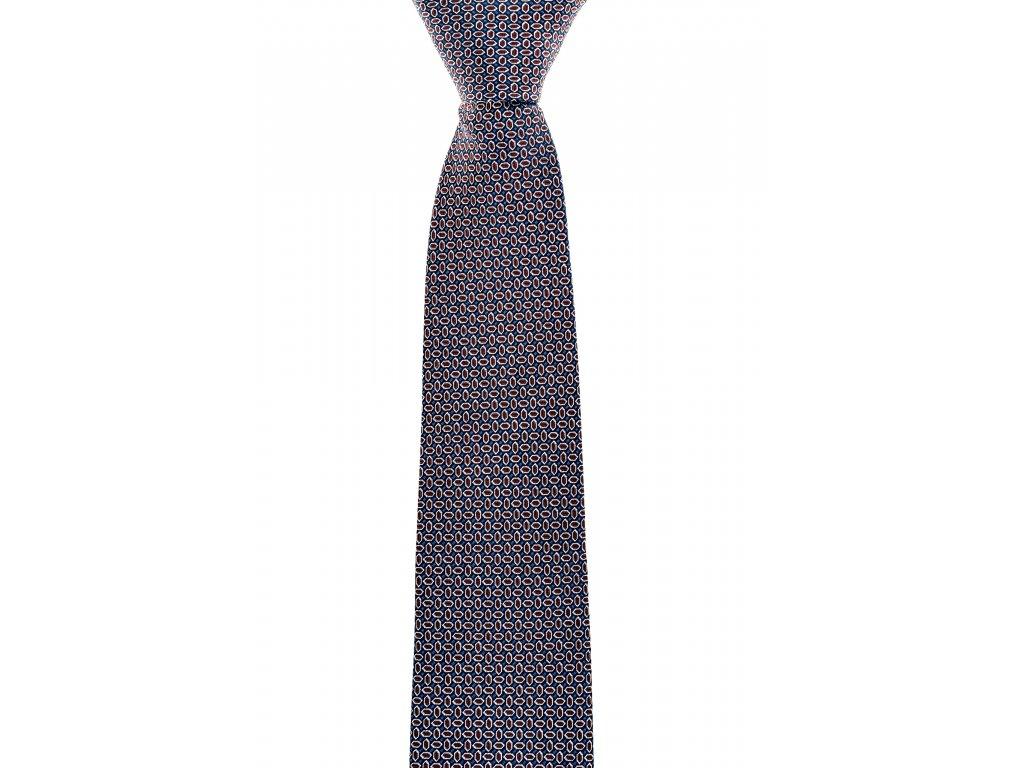 Modrá kravata s červeným vzorem