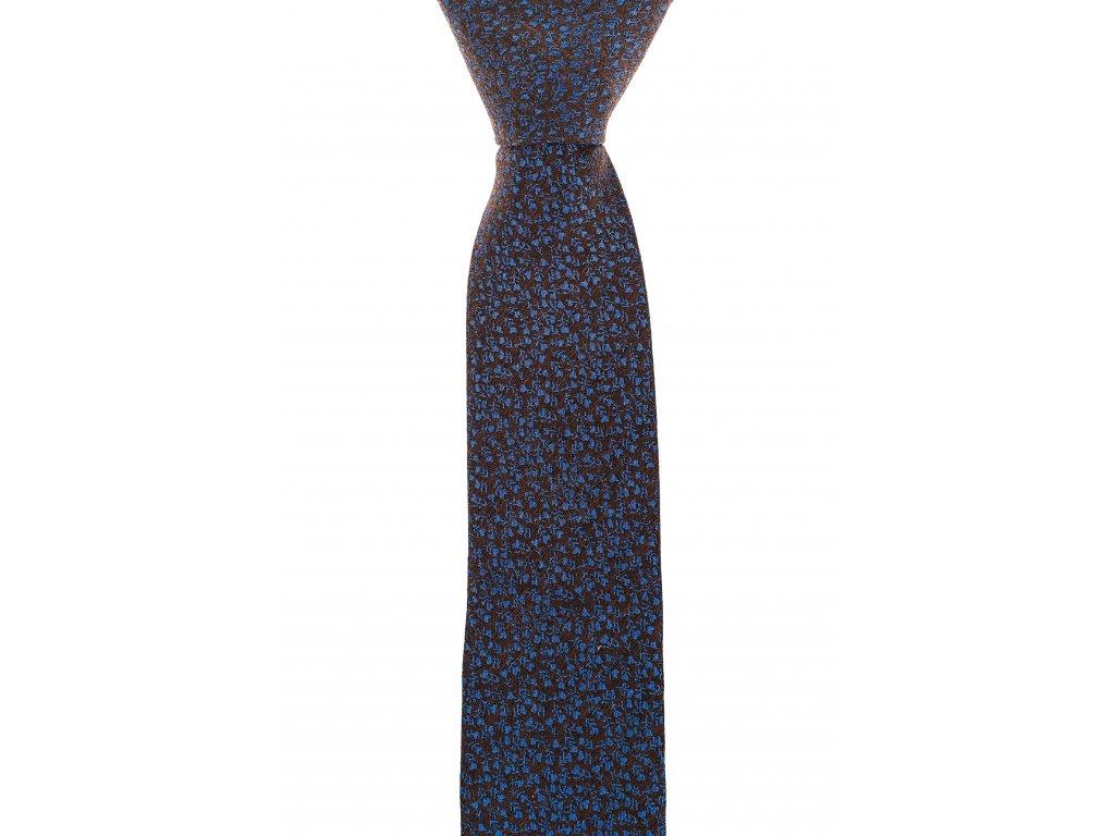 Hnědá twin kravata s modrým květinovým vzorem