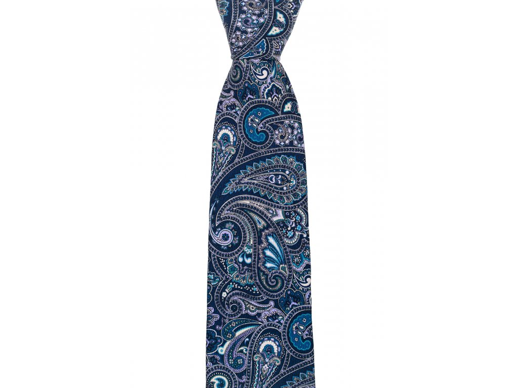Tmavě modrá twin kravata s paisley vzorem