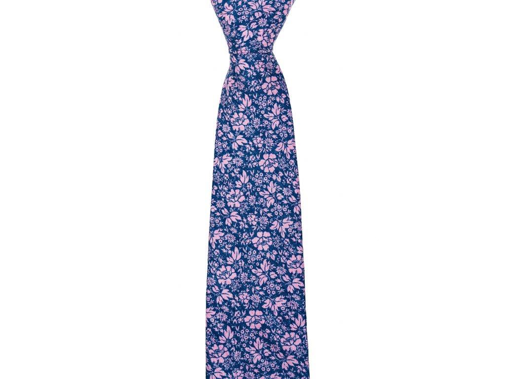 Modrá twin kravata s růžovým květinovým vzorem