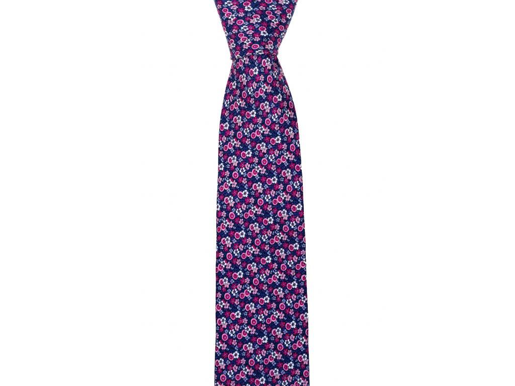 Fialovo-růžová twin kravata s květinovým vzorem