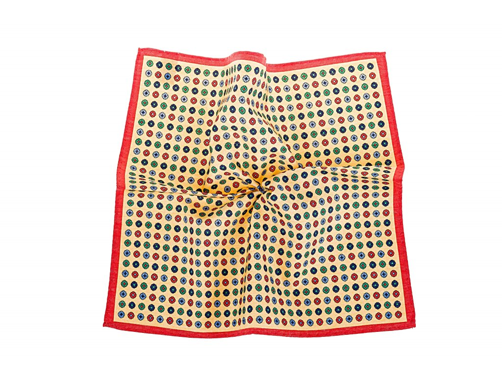 Žlutý květovaný kapesníček s červeným okrajem
