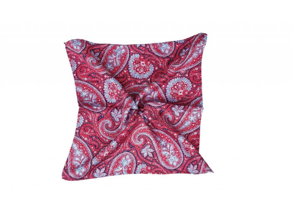 Červený kapesníček oboustranný s paisley vzorem a květy