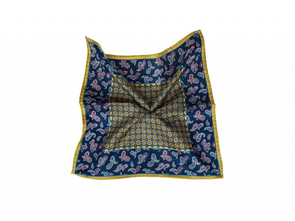 Modro-žlutý kapesníček oboustranný
