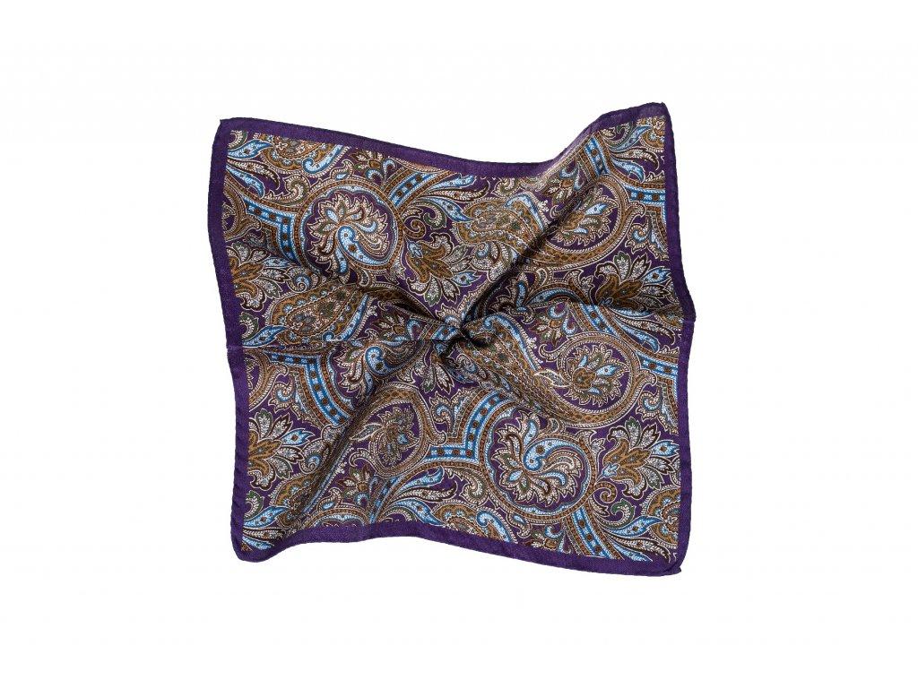 Fialový kapesníček s paisley vzorem