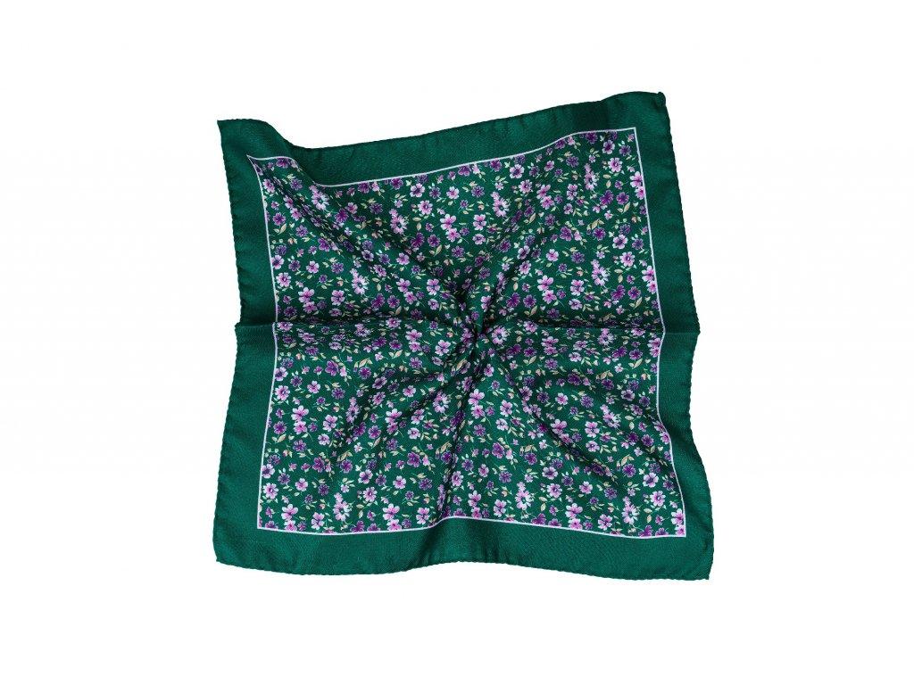 Tmavě zelený kapesníček s fialovými květy a okrajem